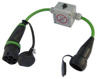 Adapter Typ 2 Stecker auf Schuko Kupplung mit Schlüsselschalter