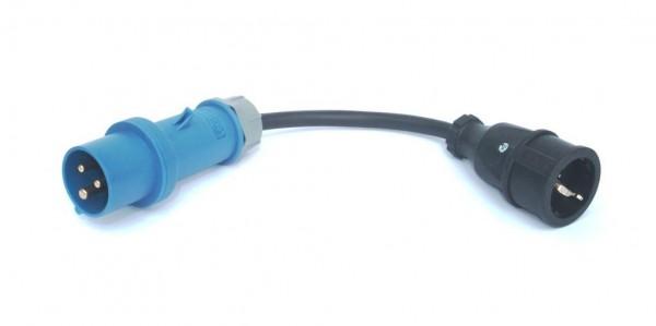 Adapter 16A Stecker blau auf Schukokupplung