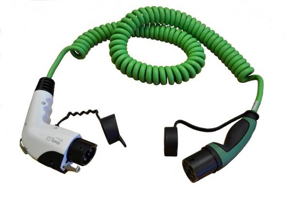 Ladekabel Typ 2 Stecker auf Typ 1 Kupplung 230V / 1-phasig / spiral